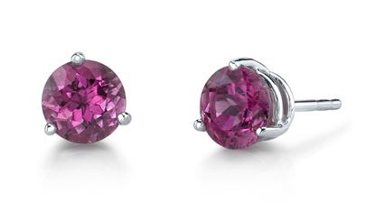 14Kt. White Gold Traditional Stud Style Pink Tourmaline Earrings