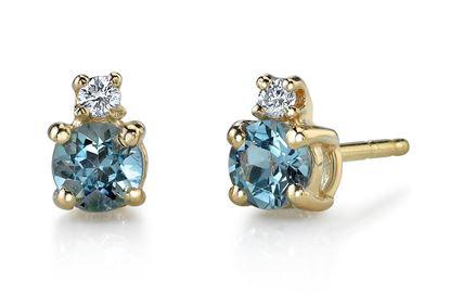 14Kt Yellow Gold Classic Stud Style Aquamarine and Diamond Earrings
