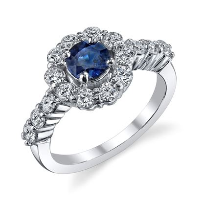 14Kt. White Gold Halo Style Sapphire and Diamond Ring