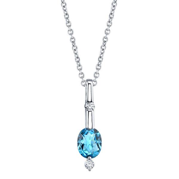 14Kt White Gold Oval Blue Topaz and Diamond Bar Pendant