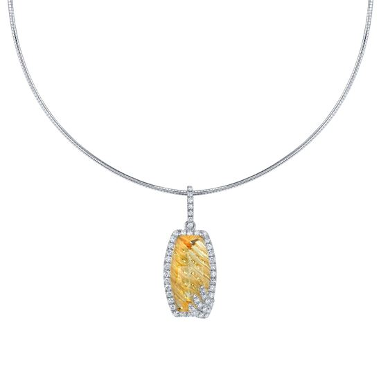 14Kt White Gold Unique Fancy Shape Citrine and Diamond Halo Pendant