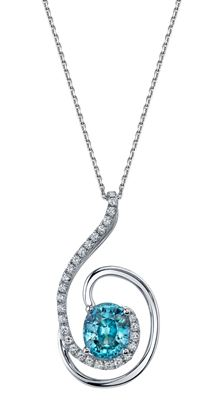 14Kt White Gold Open Diamond Swirl and Oval Blue Zircon Pendant