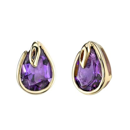 14Kt Yellow Gold Pear Shape Amethyst Stud Earrings
