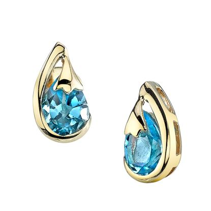 14Kt Yellow Gold Swirl Style Pear Shaped Blue Topaz Stud Earrings