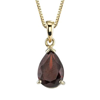 14Kt Yellow Gold Classic Teardrop Pyrope Garnet Pendant with a tapered bale