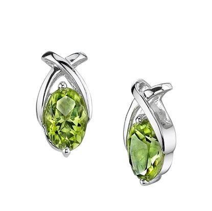 """14Kt White Gold Oval Peridot """"X"""" Style Stud Earrings"""