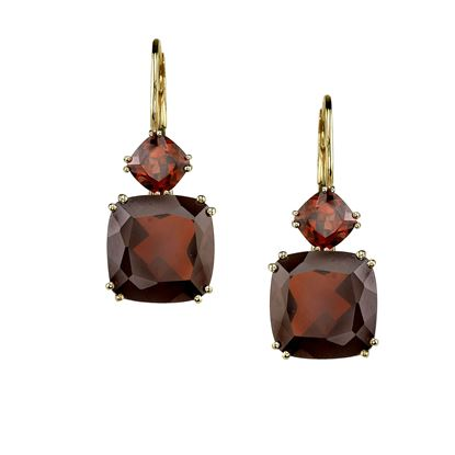 14Kt Yellow Gold Cushion Cut Pyrope Garnet Earrings with Leverbacks.