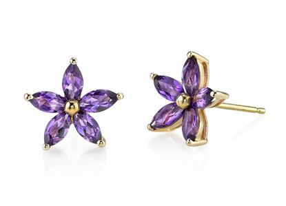 14Kt Yellow Gold Marquise Cut Flower Amethyst Earrings