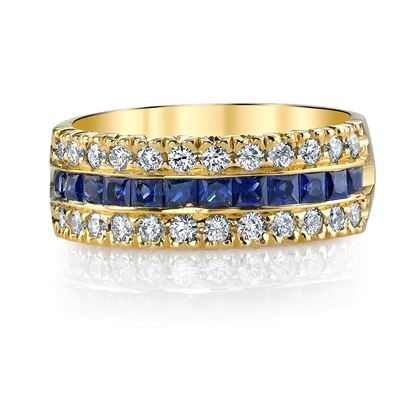 14Kt. Yellow Gold Three Row Style Princess Cut Sapphire and Round Diamond Ring