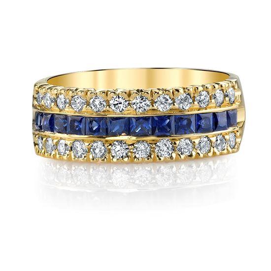 14Kt. Yellow Gold Three Row Style Princess Cut Sapphire and Round Diamond Ring