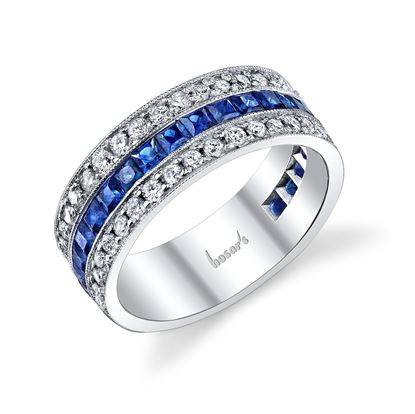 14Kt. White Gold Vintage Style Princess Cut Sapphire and Round Diamond Ring