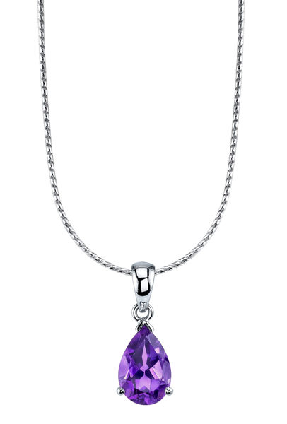14Kt Whte Gold Pear Shaped Amethyst Solitaire Pendant