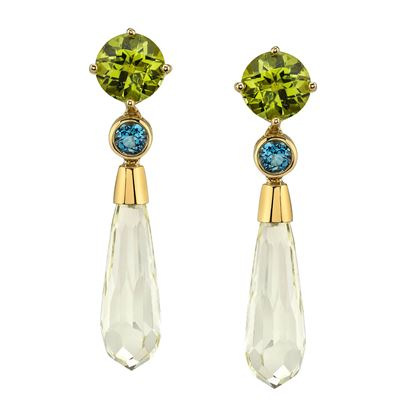 14Kt Yellow Gold Unique Peridot, Aquamarine and Lemon Quartz Briolette Drop Earrings