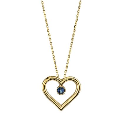 14Kt. Yellow Gold Open Heart Design Sapphire Pendant
