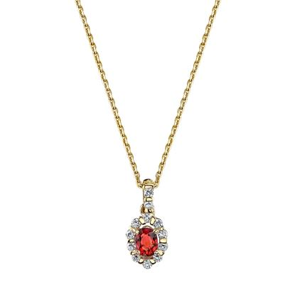 14Kt. Yellow Gold Classic Halo Style Ruby and Diamond Pendant