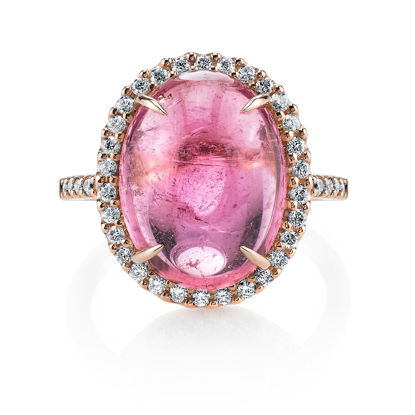 18Kt. Rose Gold Iconic Halo Design Pink Tourmaline Cabachon and Dimaond Ring