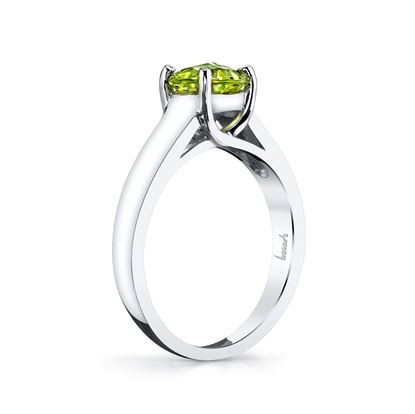 14Kt White Gold Round Peridot Trellis Style Solitaire Ring