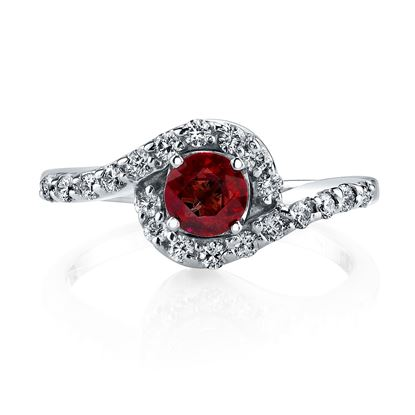 14Kt. White Gold Modern Halo Style Ruby and Diamond Ring