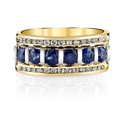 14Kt. Yellow Gold Barset Sapphire and Channel Set Diamond Ring