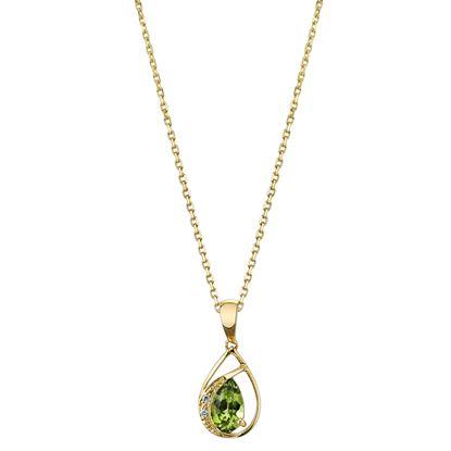 14Kt Yellow Gold Modern Pear Shape Peridot and Diamond Swirl Pendant