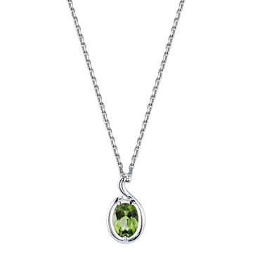 14Kt White Gold Unique Curved Style Oval Peridot Pendant