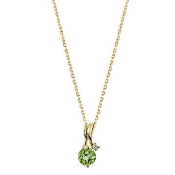 14Kt Yellow Gold Ribbon Swirl Round Peridot and Diamond Pendant