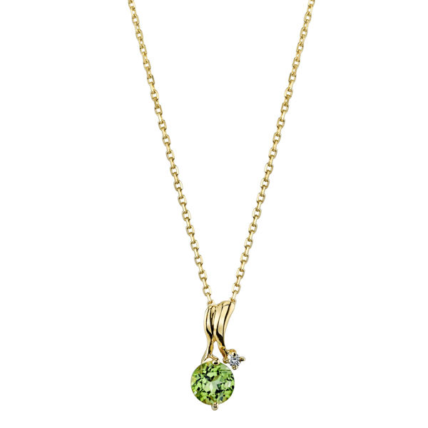 14Kt Yellow Gold Ribbon Swirl Round Peridot and Diamond Pendant