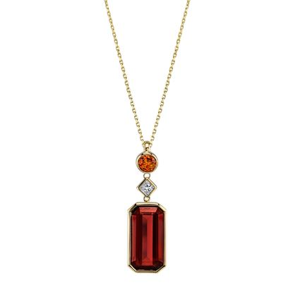 14Kt Yellow Gold Fancy Shaped Rhodalite, Diamond and Citrine Drop Pendant