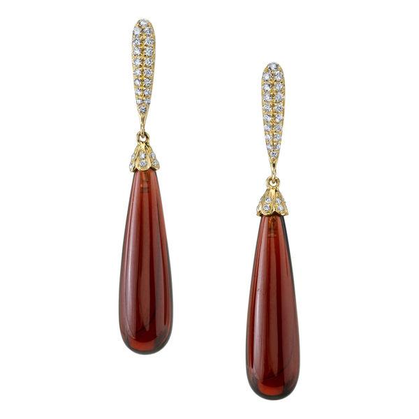 14Kt Yellow Gold Pyrope Garnet Briolette and Diamond Drop Earrings