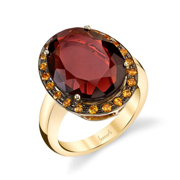 14Kt Yellow Gold One of a Kind Slab Cut Pyrope Garnet and Yellow Sapphire Ring