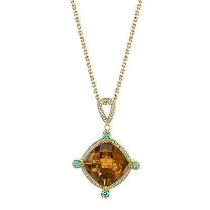 14Kt Yellow Gold Unique and Fashionable Diamond Halo Style Smokey Quartz and Blue Zircon Pendant