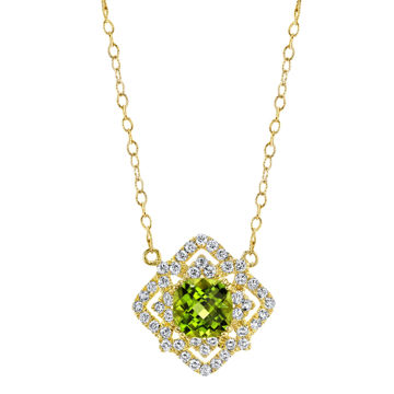 14Kt Yellow Gold Unique Vintage Inspired Cushion Shape Peridot and Diamond Necklace