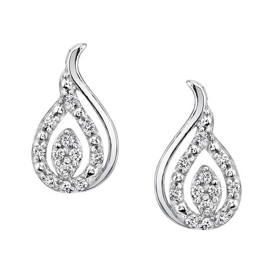 14Kt White Gold Pear Shaped Diamond Earrings