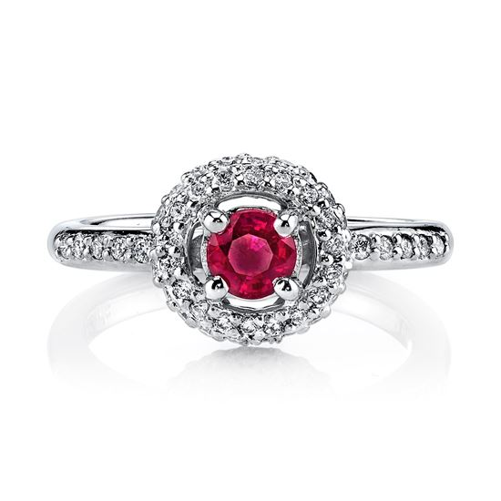 14Kt. White Gold Contemporary Halo Style Ruby and Diamond Ring