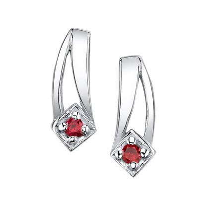 14Kt. White Gold Modern Drop Design Ruby Earrings