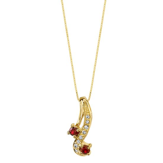 14Kt. Yellow Gold Curved Design Ruby and Diamond Pendant