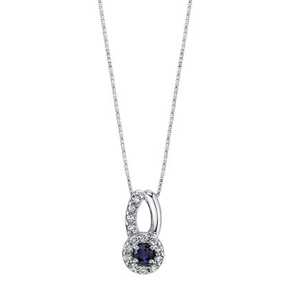 14Kt. White Gold Halo Style Sapphire and Diamond Pendant