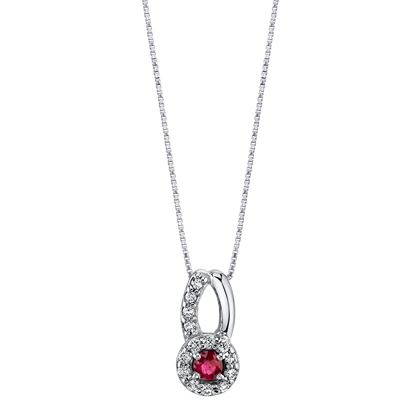 14Kt. White Gold Halo Design with Open Bale Ruby and Diamond Pendant