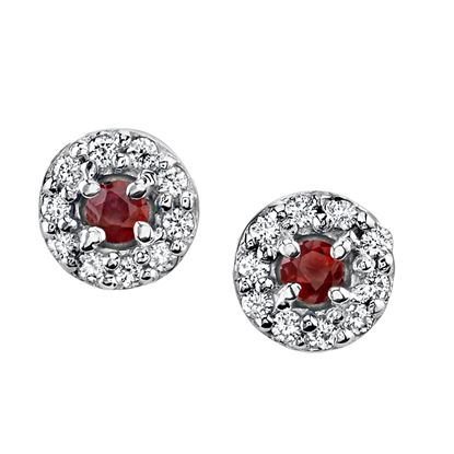 14Kt. White Gold Classic Halo Style Ruby and Diamond Earrings