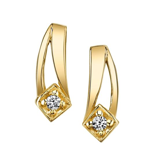 14Kt Yellow Gold Diamond Earrings with Double Swoosh Design