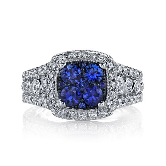 14Kt. White Gold Sapphire Cluster and  Diamond Halo Ring