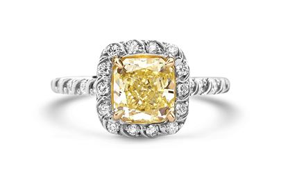14Kt White Gold Radiant Fancy Yellow Diamond Ring
