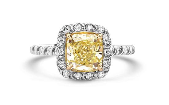 14Kt White Gold Radiant Fancy Yellow Diamond Ring
