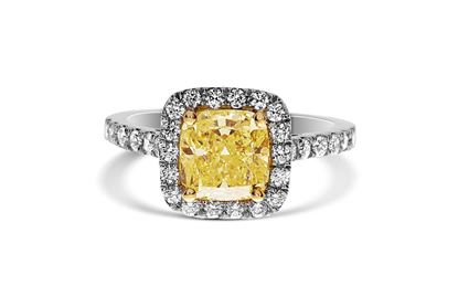 14Kt Gold Cushion Fancy Intense Yellow Diamond Ring