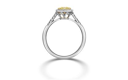 14Kt White Gold Fancy Yellow Cushion Cut Diamond with Diamond Halo