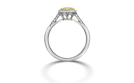 14Kt White Gold Fancy Yellow Cushion Cut Diamond with Diamond Halo