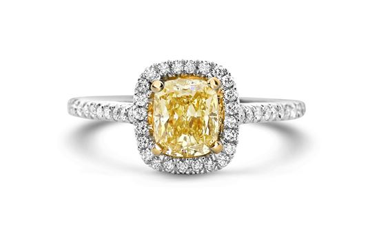 14Kt White Gold Fancy Yellow Diamond Ring with Halo