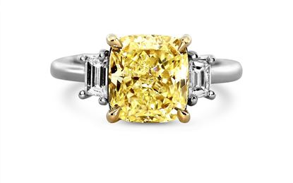 14Kt White Gold Fancy Yellow Three-Stone Diamond Ring