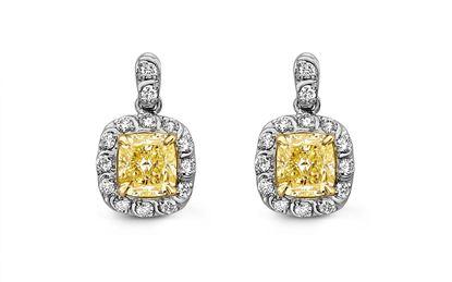 14Kt White Gold Yellow Diamond Earrings