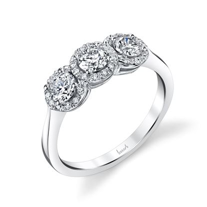 14Kt White Gold Three Stone Diamond Ring with Halos